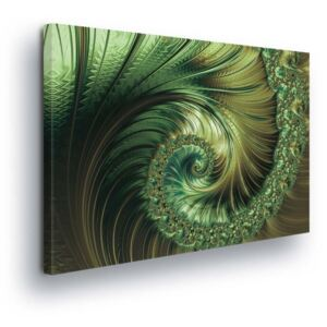 GLIX Tablou - Abstract Swirl in Green Tones 45x145 cm