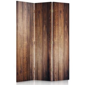 CARO Paravan - Brown Planks | tripartit | unilateral 110x150 cm