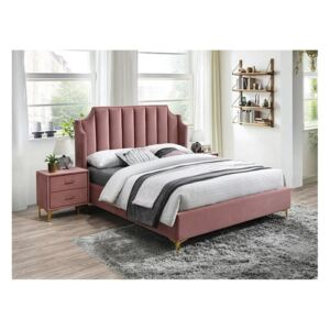 PAT MONAKO VELVET BED 160x200 CULOARE ROZ ANTIC / BLUVEL 52