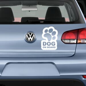 Sticker Auto Decorativ, Dog On Board, Alb/Negru, 20×14 cm - Alb