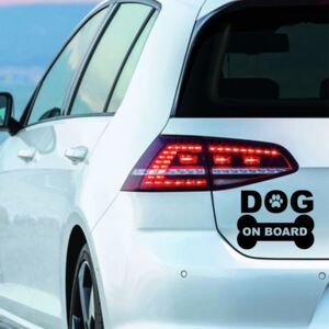 Sticker Auto Decorativ, Dog On Board, Alb/Negru, 15×11 cm - Negru