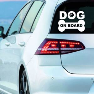 Sticker Auto Decorativ, Dog On Board, Alb/Negru, 15×11 cm - Alb