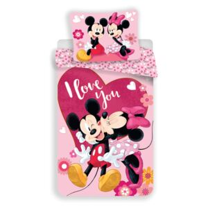 Lenjerie de pat copii Jerry Fabrics Mickey and Minnie Kiss micro, 140 x 200 cm, 70 x 90 cm