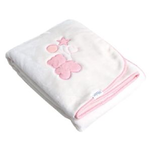 Paturica cu broderie My Little Bear Pink