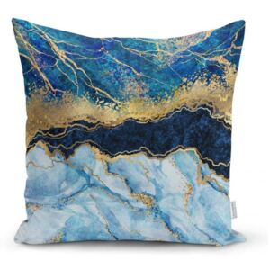 Față de pernă Minimalist Cushion Covers Marble With Blue, 45 x 45 cm