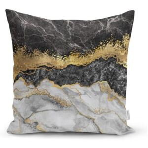 Față de pernă Minimalist Cushion Covers BW Marble With Golden Lines, 45 x 45 cm