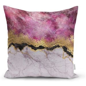 Față de pernă Minimalist Cushion Covers Marble With Pink And Gold, 45 x 45 cm