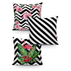 Set 3 fețe de pernă Minimalist Cushion Covers BW Stripes Jungle, 45 x 45 cm