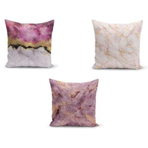 Set 3 fețe de pernă Minimalist Cushion Covers Pinkie Cassie, 45 x 45 cm