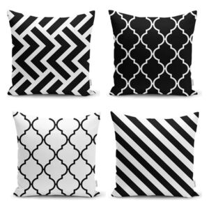 Set 4 fețe de pernă Minimalist Cushion Covers BW Graphic Patterns, 45 x 45 cm