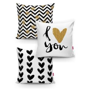Set 3 fețe de pernă Minimalist Cushion Covers BW With Hint Of Gold, 45 x 45 cm