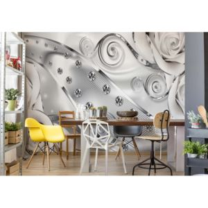 Fototapet GLIX - 3D Luxury Diamonds And Roses Silver + adeziv GRATUIT Tapet nețesute - 250x104 cm