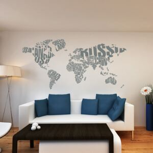 GLIX World map - autocolant de perete Gri 200 x 100 cm