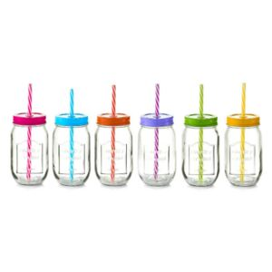 Set 6 cani multicolore din sticla si plastic cu capac si pai 480 ml Color Lid Zeller