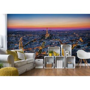 Fototapet GLIX - Paris City Skyline At Night + adeziv GRATUIT Tapet nețesute - 206x275 cm