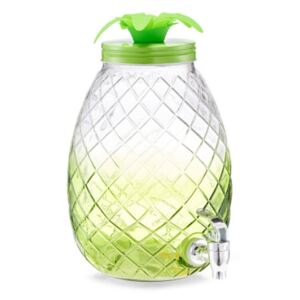 Borcan cu robinet transparent/verde din sticla si metal 4,5 L Pineapple Dispenser Zeller