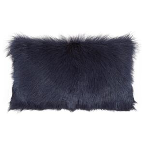 Perna decorativa dreptunghiulara albastra din blana si poliester 30x50 cm Goat Fur LifeStyle Home Collection