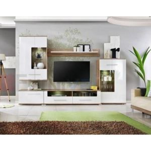 Set mobila living SAALA, 310x47x190 cm, FRONTURI MDF ULTRA-BRILLIANCE, ILUMINARE cu LED