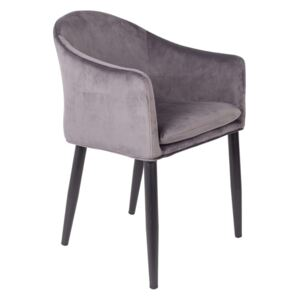 Scaun cu brate din catifea gri Armchair Catelyn Grey | WHITE LABEL LIVING