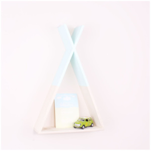 Raft de perete din lemn North Carolina Scandinavian Home Decors Teepee, înălțime 45 cm, albastru deschis
