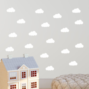 Set 40 autocolante de perete North Carolina Scandinavian Home Decors Clouds, alb