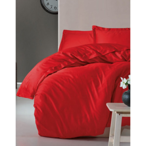 Lenjerie de pat premium satin de lux, Cotton Box, Elegant Red