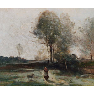 Landscape or, Morning in the Field Reproducere, Jean Baptiste Camille Corot