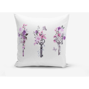 Față de pernă cu amestec din bumbac Minimalist Cushion Covers Purple Key Flower Striped, 45 x 45 cm