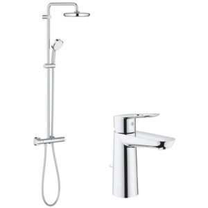 Pachet: Coloana dus Grohe New Tempesta 210-27922001, Baterie lavoar Grohe Bauloop M size