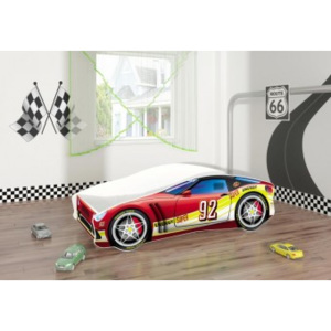 Set Pat Tineret 160x80 Speed Race Car Red + Saltea