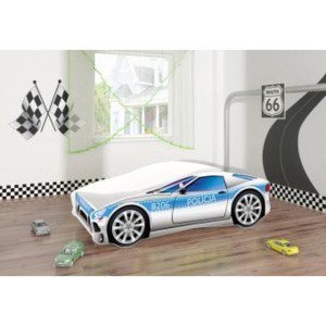 Set Pat Tineret 160x80 Politie Race Car Blue + Saltea
