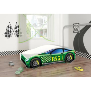Set Pat Tineret 140x70 Super Race Car Green + Saltea