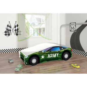 Set Pat Tineret 160x80 Army Race Car Green + Saltea
