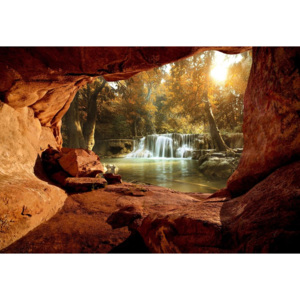 Lake Forest Waterfall Cave Fototapet, (152.5 x 104 cm)