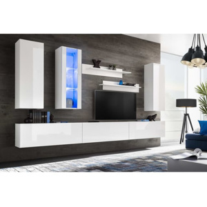 Mobilier sufragerie, spațiu TV 8 piese, lumini LED, Alb lucios