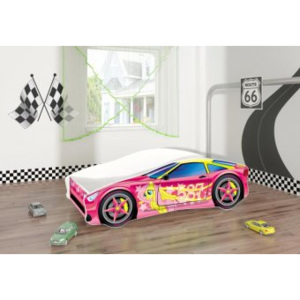 Set Pat Tineret 160x80 Pony Race Car Pink + Saltea