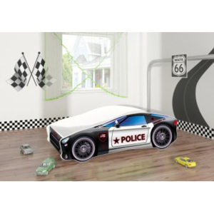 Set Pat Tineret 160x80 Police Race Car Black + Saltea