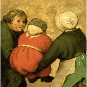 Children's Games (Kinderspiele): detail of a child carried by two others, 1560 (oil on panel) Reproducere, Pieter the Elder Bruegel