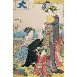 Women of the Gay Quarters, right hand panel of a diptych (colour woodblock pring) Reproducere, Torii Kiyonaga