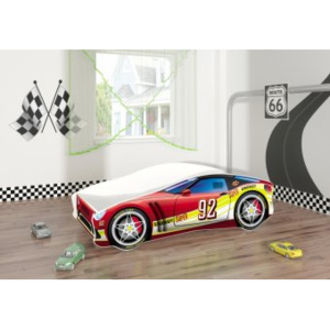 Set Pat Tineret 140x70 Energy Race Car Red + Saltea