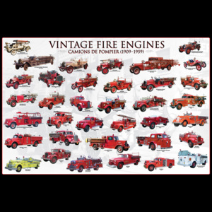 Vintage fire engines Poster, (91,5 x 61 cm)