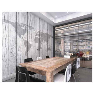 Ohpopsi Fototapeta - World Map Timber 300x240 cm