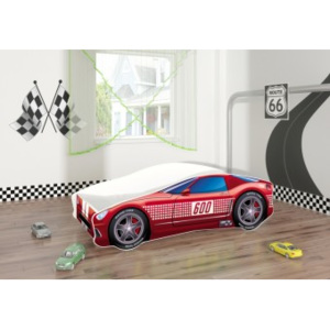 Set Pat Tineret 160x80 Speed Race Car Simple Red + Saltea