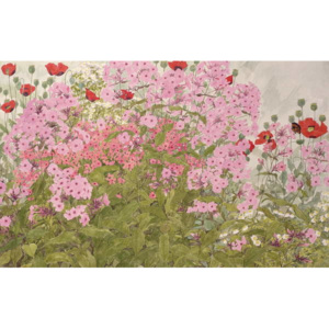 Pink Phlox and Poppies with a Butterfly Reproducere, Linda Benton