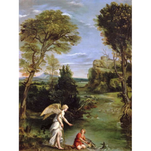 Landscape with Tobias laying hold of the Fish, c.1615 Reproducere, Domenichino (1581-1641) Domenichino (1581-1641)