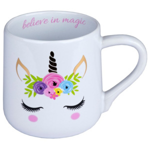Cană din ceramică Tri-Coastal Design Unicorn, 300 ml, alb