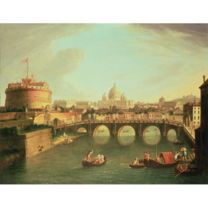 A View of Rome with the Bridge and Castel St. Angelo by the Tiber Reproducere, Gaspar van (1653-1736) Wittel