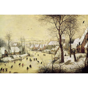 Pieter the Elder Bruegel - Winter Landscape with Skaters and a Bird Trap, 1565 Reproducere