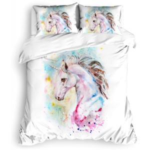 Lenjerie pat dublu bumbac 100% ranforce, Club Cotton, Unicorn Lily
