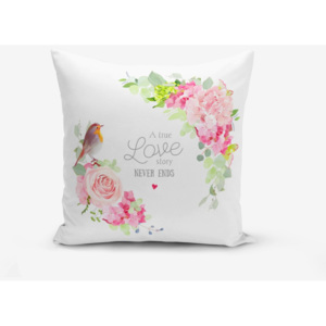 Față de pernă cu amestec din bumbac Minimalist Cushion Covers Bird A True Love Story, 45 x 45 cm